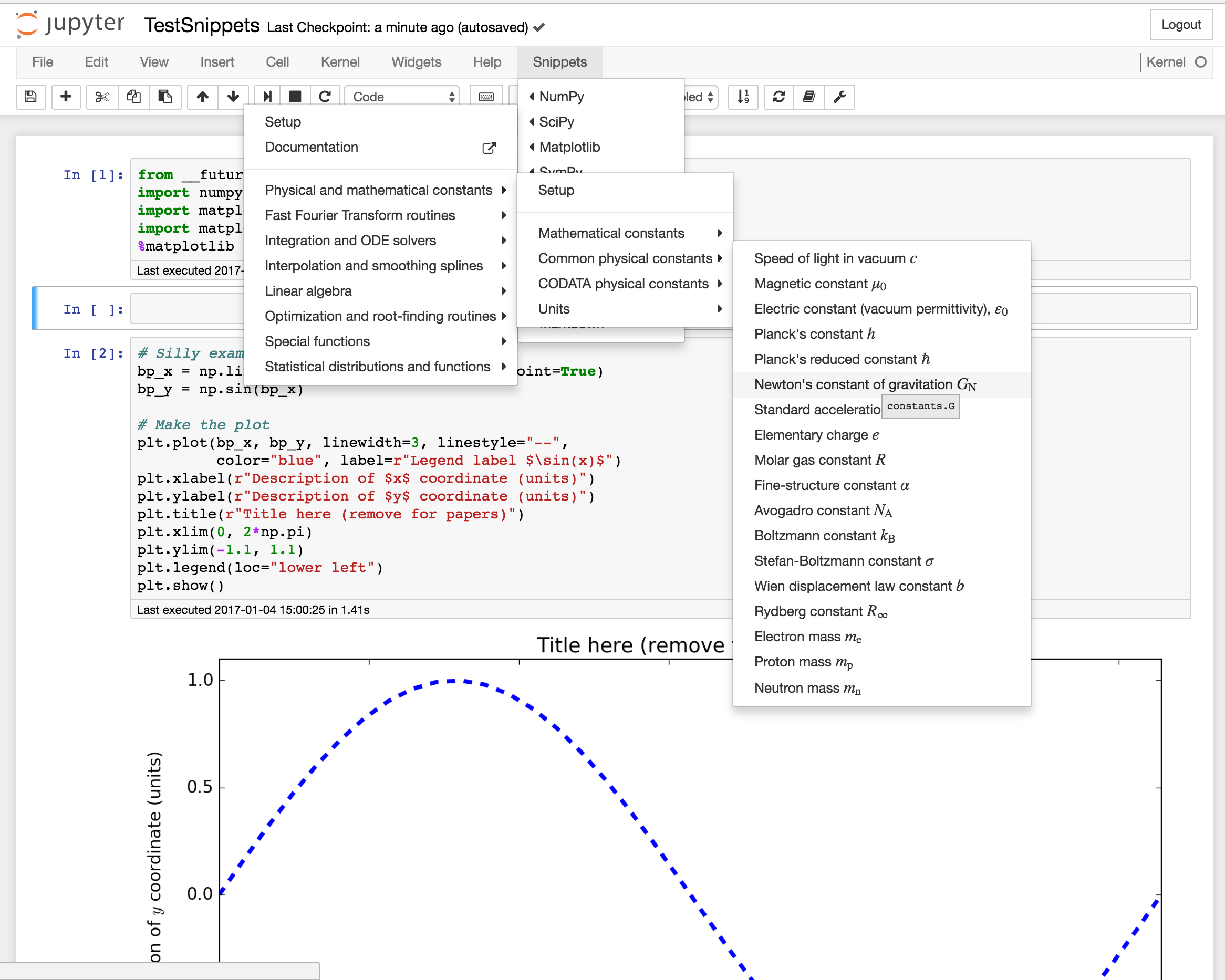 Jupyter notebook snippets menu